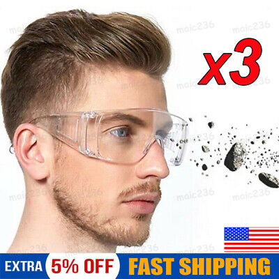 3 pcs Clear Safety Goggles Glasses Anti Fog Lens Work Lab Protective Chemical US