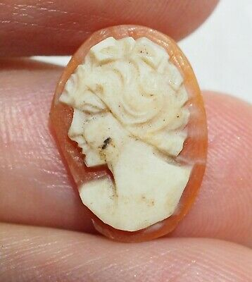 Antique Victorian Pink Shell Cameo Greek Knight Intaglio Seal bead Pendant
