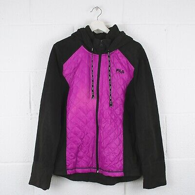 Vintage FILA Pink Hooded Fleece Quilted Jacket Size Womens XL XLarge /R30022