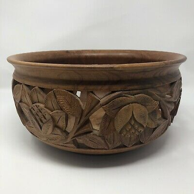 Vintage Carved Solid Wood Bowl Large Floral Boho Farmhouse Home Decor