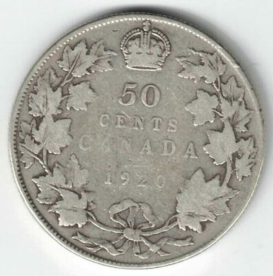 Canada 1920 Wide 0 50 Cents Half Dollar King George V Silver Canadian Coin