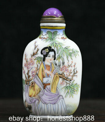 7cm Old Marked Chinese Colored Glaze Painted Belle Plum Blossom Snuff Bottle