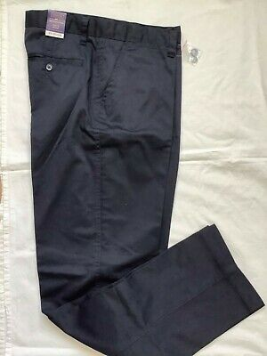 Henbury H640 Men's Straight Leg Classic Fit Flat Front Chino Trousers W34 x L32