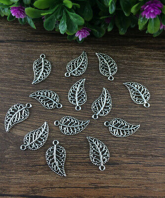 Wholesale 20pcs Tibet silver Leaves Charm Pendant beaded Jewelry Findings DIY A1