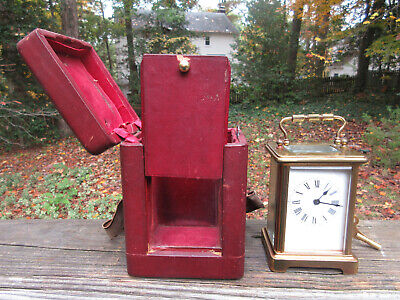 """Antique French Brass Carriage Clock Case & Key **Works Beautifully** 4 3/8"""" high"""