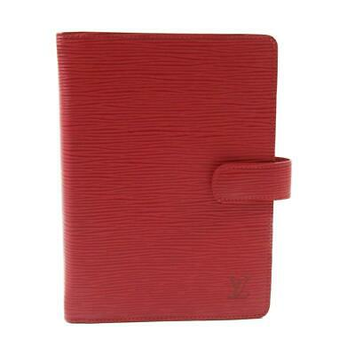 Auth LOUIS VUITTON Agenda MM notebook cover R2004E Epi leather Red Used
