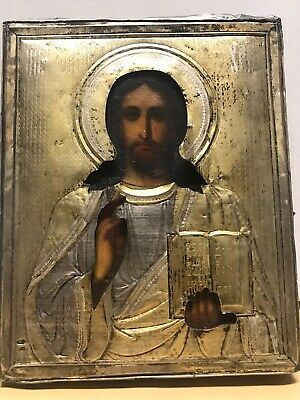 Antik Ikone Russland Christus Oklad Silber Russian Icon Christ Almighty silver