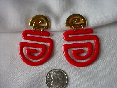 """1.75"""" CHINESE RED Asian ? Clip Earrings Gold Tone Plastic Signed """"B"""" in a box"""
