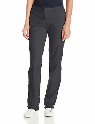 Dickies Gray Women's 10 Wrinkle Resistant Flat Front Twill Pants $45 #224