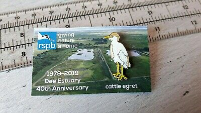 RSPB CATTLE EGRET Dee Estuary BRITISH WILDLIFE enamel pin badge Bespoke card