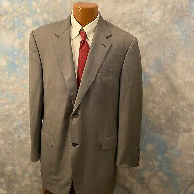 Canali Sz 46 L Gray Patterned Wool Two Button Men's Blazer ITALY