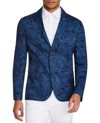 Tallia Mens Sport Coat Blue Size Small S Two-Button Paisley Print $198 #329