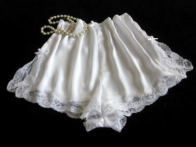 Womens French Knickers Panties M Lacy White Satin Silky Drapey Vintage Style