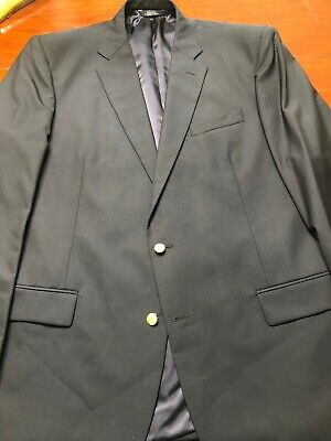 Brooks Brothers Madison 1818 100% Wool Navy Sport Coat 48 L 2 gold Button