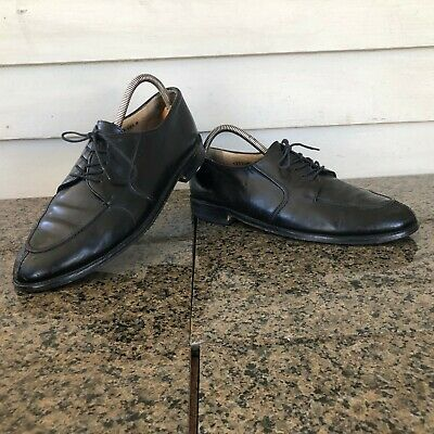 Vito Rufolo Sz 10.5 M Black Leather Split Toe Oxford Men's Shoes ITALY