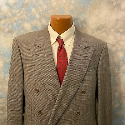 Canali Sz 40 R Gray Patterned Wool Double Breasted Men's Blazer ITALY