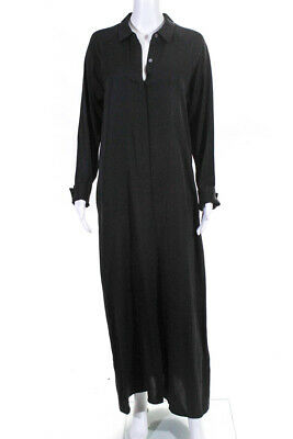 Theory Womens Silk Long Sleeve Button Front Maxi Dress Black Size 10