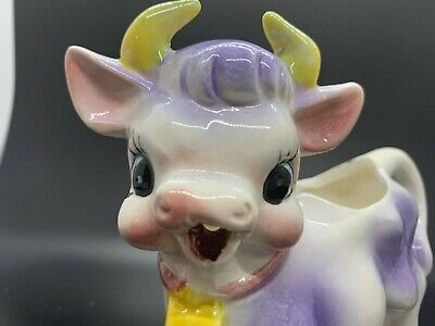 Vintage 1940 - 1950 MINT CONDITION Porcelain Figurine Cow Creamer made in Japan