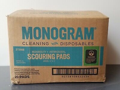 """Monogram 6"""" X 9"""" Medium Duty Antimicrobial Scouring Pad #273988 (20-Count)"""
