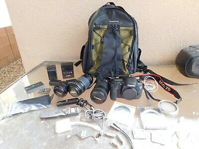 Canon EOS 7D 18MP Digital Camera 3 Lens 2 Memory Cards Chargers Backpack + More