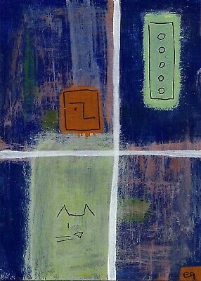 in the house of memory e9Art ACEO Cat Window Abstract Outsider Art Painting Brut