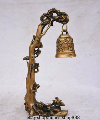 "14"" Old Chinese Bronze Monkey Bell Zhong Hanging Pine Tree Statue Sculpture"