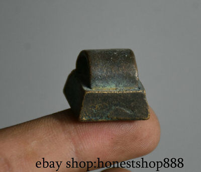 1.9cm Collect Old China Bronze Dynasty Mini Statue Seal Stamp Signet XX16