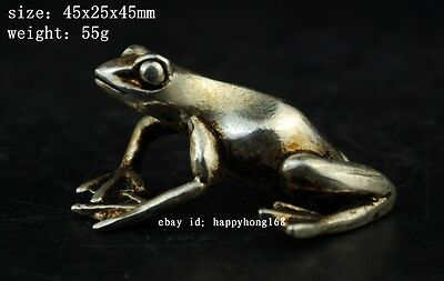 China old copper plating silver Carving  Frog Statue a01