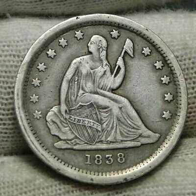 1838 Seated Liberty Quarter 25 Cents - Key Date only 466,000 minted, Nice (9242)