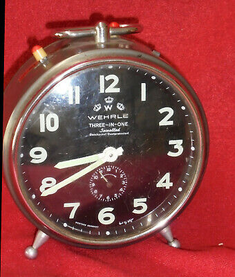 RARE Striking & Alarm German Wehrle Three-In-One Jeweled Movement Alarm Clock