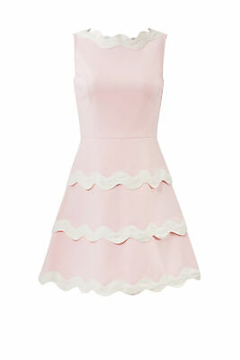 Sail to Sable Womens Dress Pink Size 8 A-Line Scallop Trim Colorblock $288- #414
