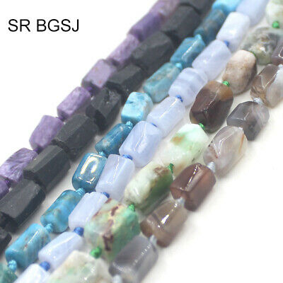 """Natural 8x10mm Faceted Tube Crude Gemstone Loose Jewelry DIY Beads Strand 15"""""""