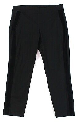 Alfani Women's Black Size 22W Plus Skinny Velvet Striped Pants Stretch $69 #021