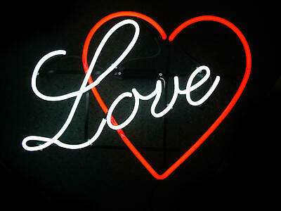 "Love Heart Logo Neon Light Sign 17""x14"" Lamp Beer Bar Pub Real Glass Decor"