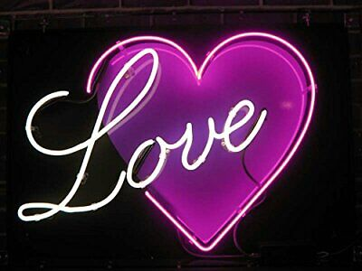 "Love Heart Neon Light Sign 17""x14"" Lamp Beer Bar Pub Real Glass Decor Display"