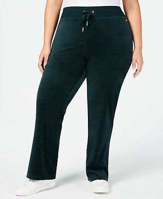 Calvin Klein Women's Green Size 3X Plus Velour Wide Leg Pants Stretch $79 #364