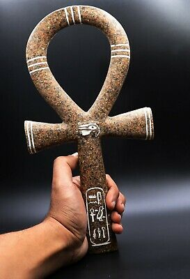 EGYPTIAN ANTIQUE EGYPT ANKH KEY OF LIFE Hieroglyphic STATUE BASALT STONE BC