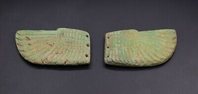 VERY RARE EGYPT EGYPTIAN Antiques WINGED SCARAB Faience STONE BC