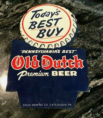 Rare Vintage Old Dutch Beer Cardboard Bottle Topper Sign Eagle Brg Catasauqua Pa