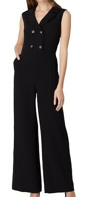 Tahari by ASL Women's Jumpsuit Solid Black Size 4 Double Breasted $159 #059