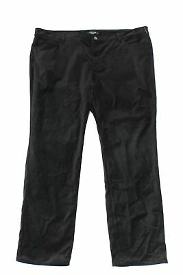 Lauren by Ralph Lauren Women Black 14W Plus Straight Leg Pants Stretch $125 #270