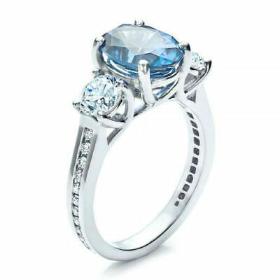Elegant 925 Silver Wedding Rings Women Jewelry Oval Cut Aquamarine Ring Size 10