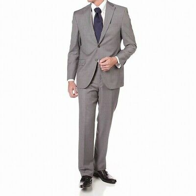 Jack Victor Mens Suit Set Gray Size 42 Long Solid Two Button Wool $695 #956