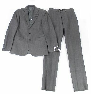 Calvin Klein Mens Suit Set Gray Size 38 2 Piece Plaid Print Linen Slim $450 #369