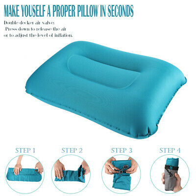 Portable Inflatable Lightweight Airplane Pillow Cushion Neck Rest Travel Camping