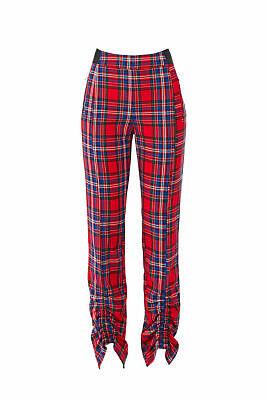Tanya Taylor Women's Pants Red Size 6X25 Carrington Plaid Ruched $450- #586
