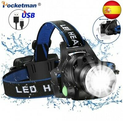 8000LM potente linterna frontal LED L2/T6 Zoom frontal luz frontal impermeable