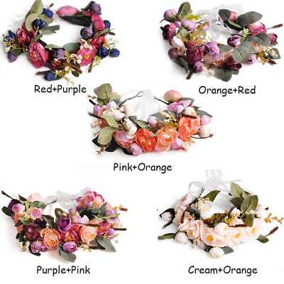 Boho Flower Crown Headband Floral Hair Garland Wreath Wedding Headpiece EBHS0009