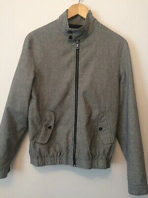 Mens River Island Classic Zip Up Lightweight Harrington Jacket Grey - Size Small