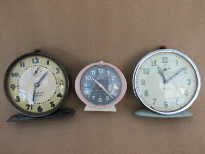 X 3 Vintage Westclox America, Baby Ben, And Smith Alarm Clocks For Spares Or Rep